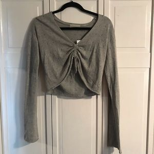 UO Gray Long Sleeve Crop Top, size Small NWT
